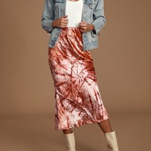 NEW Free People Swagger Pink Tie-Dye Velvet Skirt